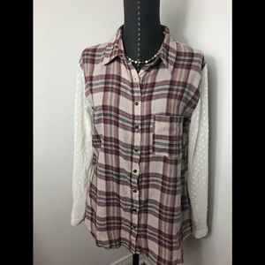 Free People Plaid Lace Button Down Shirt